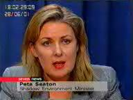 Hon. Peta Seaton - Shadow Environment Minister.  Click for streaming videos and story...